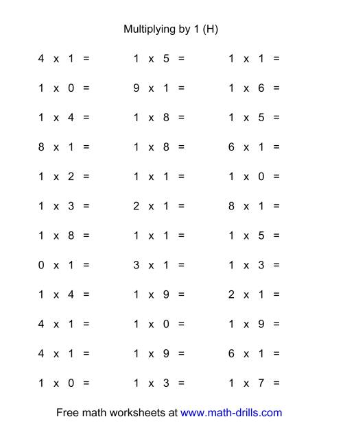 The 36 Horizontal Multiplication Facts Questions -- 1 by 0-9 (H) Math Worksheet