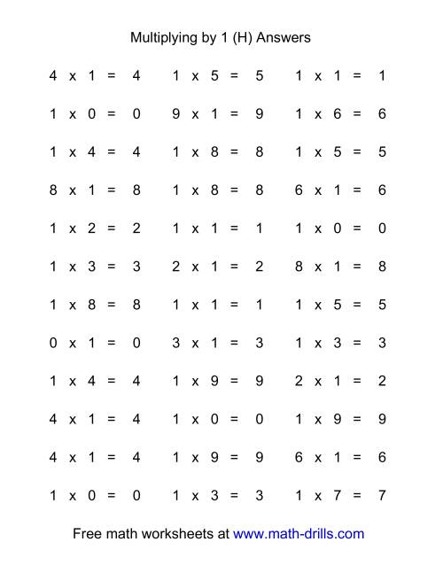 The 36 Horizontal Multiplication Facts Questions -- 1 by 0-9 (H) Math Worksheet Page 2