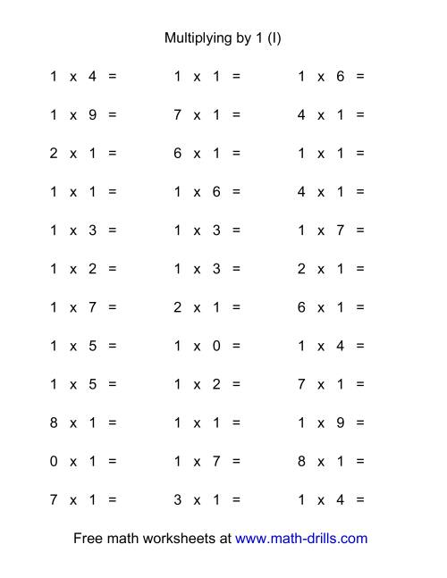The 36 Horizontal Multiplication Facts Questions -- 1 by 0-9 (I) Math Worksheet