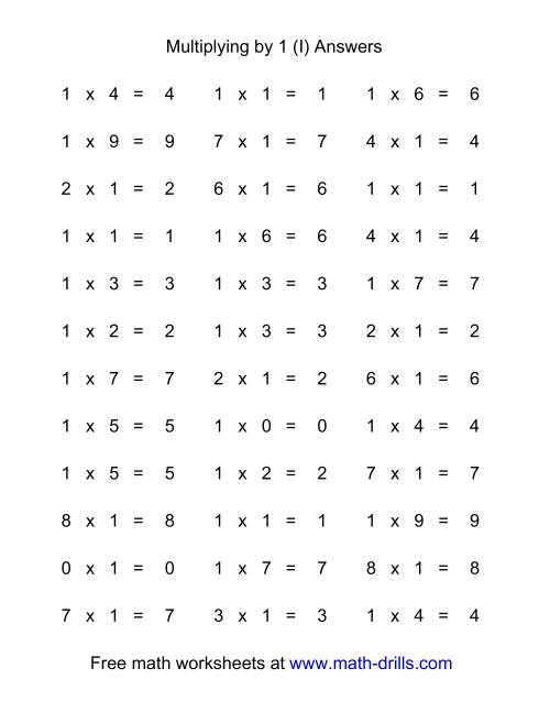 The 36 Horizontal Multiplication Facts Questions -- 1 by 0-9 (I) Math Worksheet Page 2