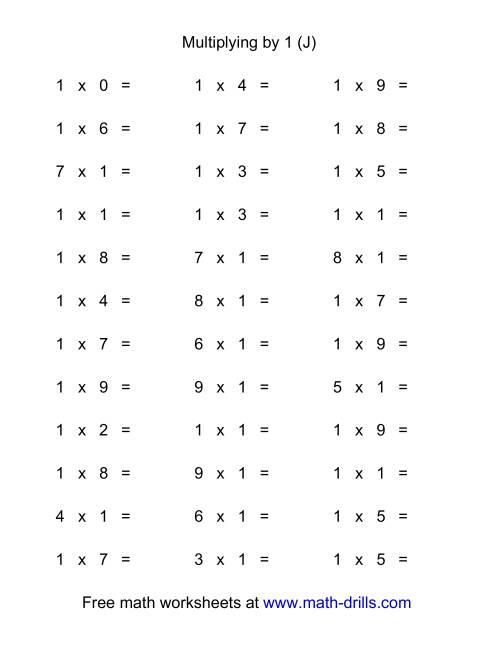The 36 Horizontal Multiplication Facts Questions -- 1 by 0-9 (J) Math Worksheet