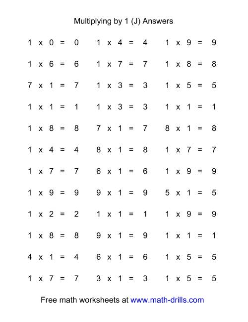 The 36 Horizontal Multiplication Facts Questions -- 1 by 0-9 (J) Math Worksheet Page 2