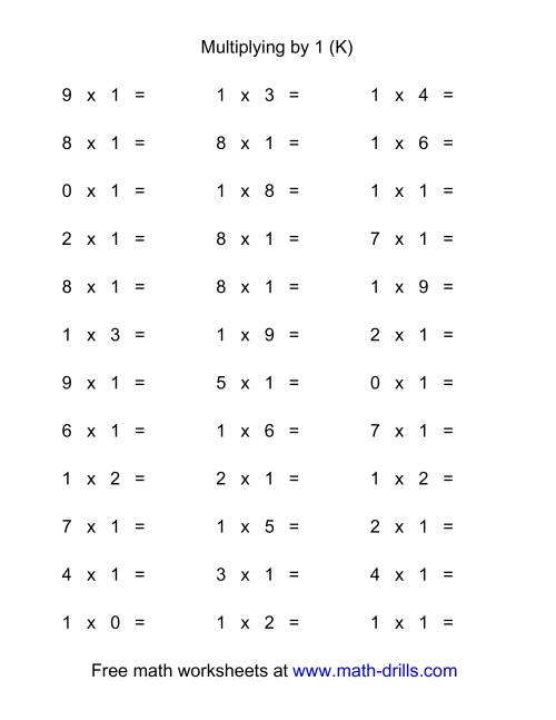 The 36 Horizontal Multiplication Facts Questions -- 1 by 0-9 (K) Math Worksheet