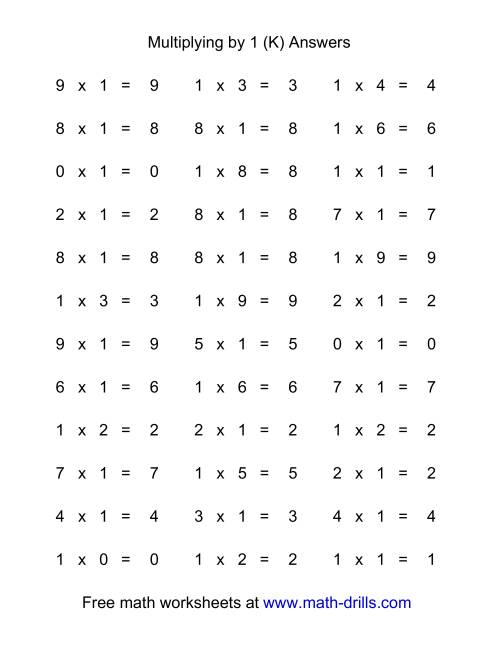 The 36 Horizontal Multiplication Facts Questions -- 1 by 0-9 (K) Math Worksheet Page 2