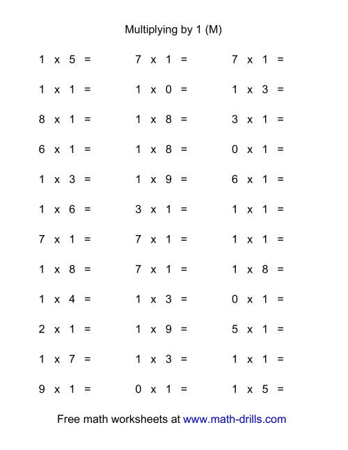 The 36 Horizontal Multiplication Facts Questions -- 1 by 0-9 (M) Math Worksheet