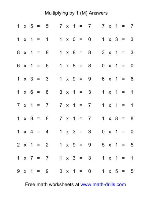 The 36 Horizontal Multiplication Facts Questions -- 1 by 0-9 (M) Math Worksheet Page 2