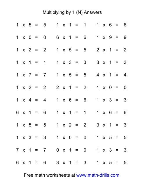 The 36 Horizontal Multiplication Facts Questions -- 1 by 0-9 (N) Math Worksheet Page 2