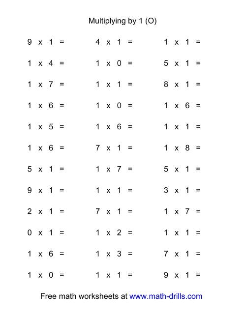 The 36 Horizontal Multiplication Facts Questions -- 1 by 0-9 (O) Math Worksheet