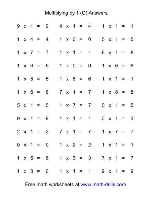 The 36 Horizontal Multiplication Facts Questions -- 1 by 0-9 (O) Math Worksheet Page 2