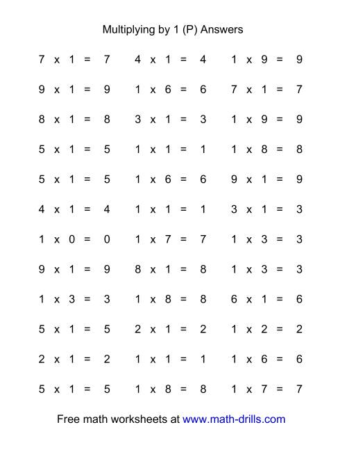 The 36 Horizontal Multiplication Facts Questions -- 1 by 0-9 (P) Math Worksheet Page 2