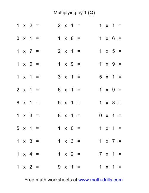 The 36 Horizontal Multiplication Facts Questions -- 1 by 0-9 (Q) Math Worksheet