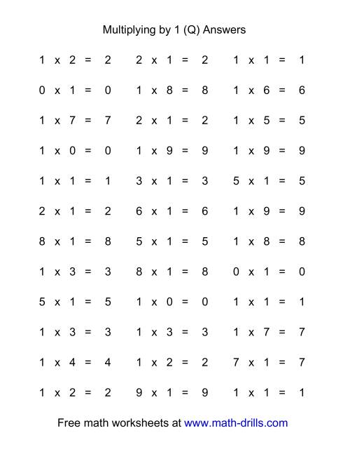 The 36 Horizontal Multiplication Facts Questions -- 1 by 0-9 (Q) Math Worksheet Page 2