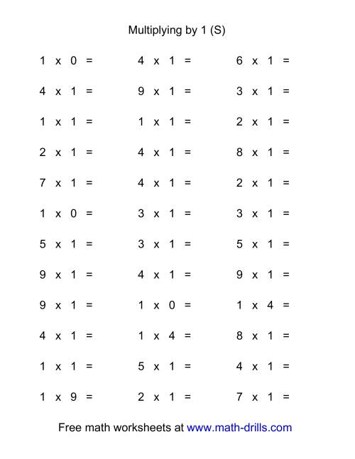 The 36 Horizontal Multiplication Facts Questions -- 1 by 0-9 (S) Math Worksheet