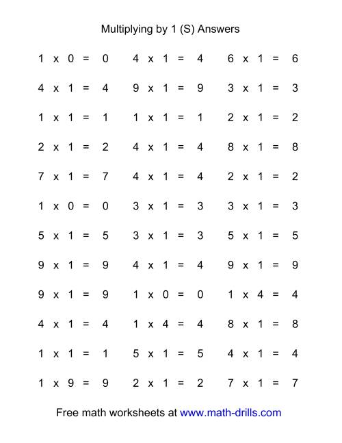 The 36 Horizontal Multiplication Facts Questions -- 1 by 0-9 (S) Math Worksheet Page 2