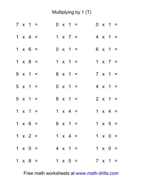 The 36 Horizontal Multiplication Facts Questions -- 1 by 0-9 (T) Math Worksheet