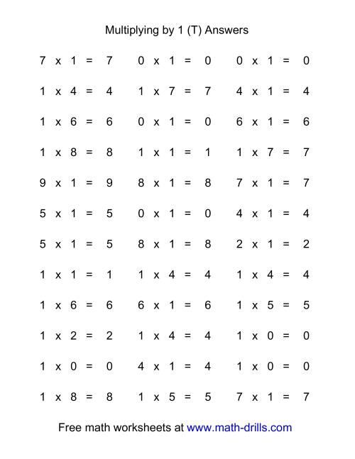 The 36 Horizontal Multiplication Facts Questions -- 1 by 0-9 (T) Math Worksheet Page 2