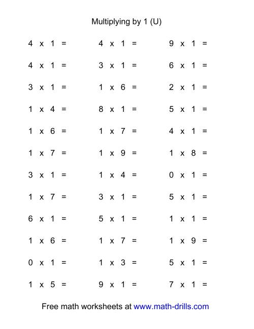 The 36 Horizontal Multiplication Facts Questions -- 1 by 0-9 (U) Math Worksheet