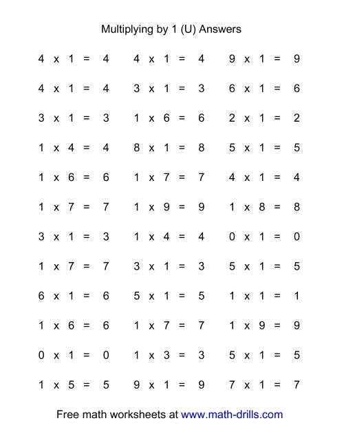 The 36 Horizontal Multiplication Facts Questions -- 1 by 0-9 (U) Math Worksheet Page 2