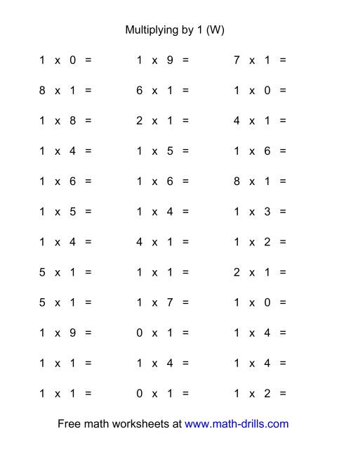 The 36 Horizontal Multiplication Facts Questions -- 1 by 0-9 (W) Math Worksheet
