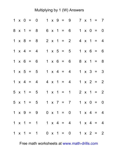 The 36 Horizontal Multiplication Facts Questions -- 1 by 0-9 (W) Math Worksheet Page 2