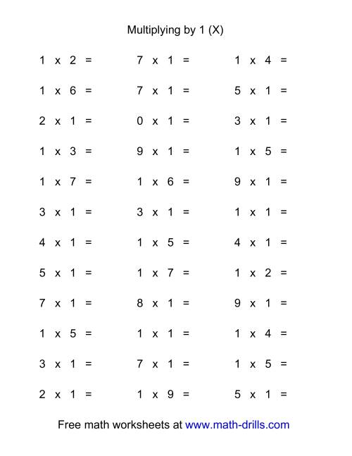 The 36 Horizontal Multiplication Facts Questions -- 1 by 0-9 (X) Math Worksheet