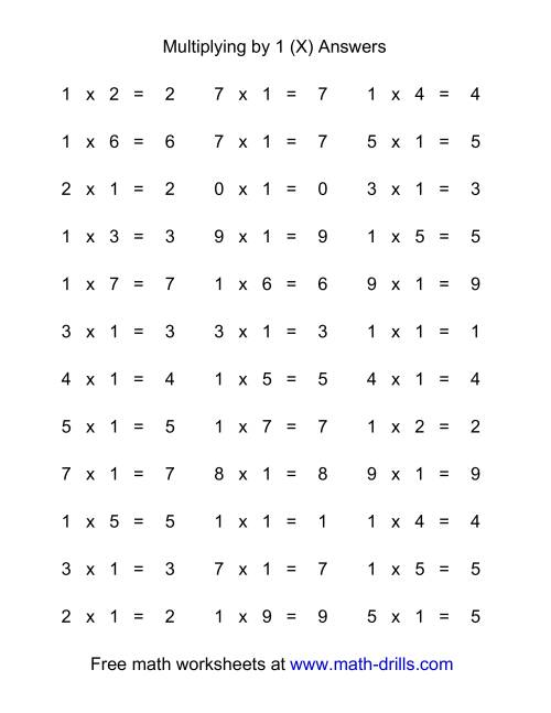 The 36 Horizontal Multiplication Facts Questions -- 1 by 0-9 (X) Math Worksheet Page 2