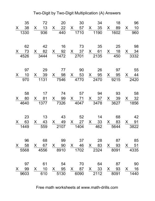 Multiplying Two Digit By Two Digit 49 Per Page A