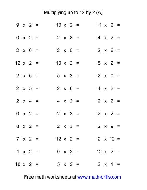 Worksheet Horizontal Multiplication Worksheets 36 horizontal multiplication facts questions 2 by 0 12 a the a