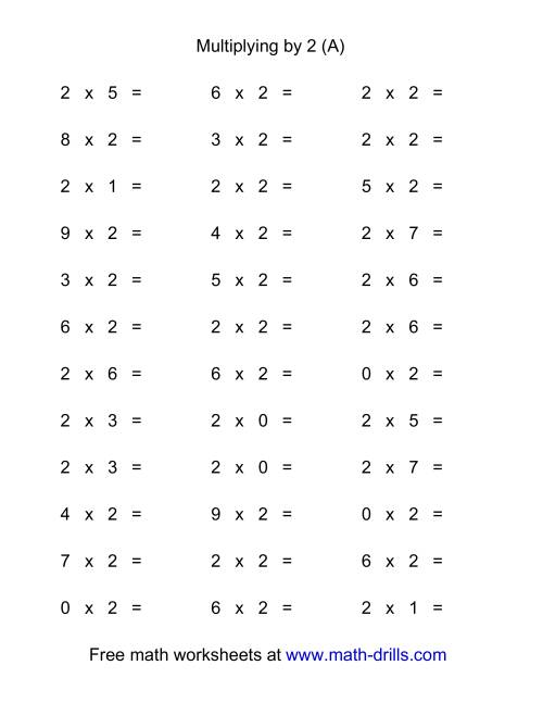 The 36 Horizontal Multiplication Facts Questions -- 2 by 0-9 (A) Math Worksheet