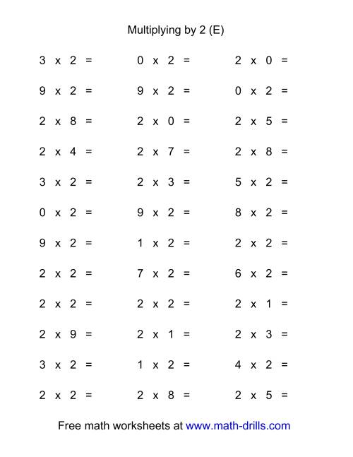 The 36 Horizontal Multiplication Facts Questions -- 2 by 0-9 (E) Math Worksheet