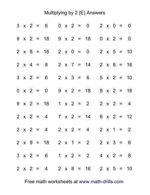 The 36 Horizontal Multiplication Facts Questions -- 2 by 0-9 (E) Math Worksheet Page 2