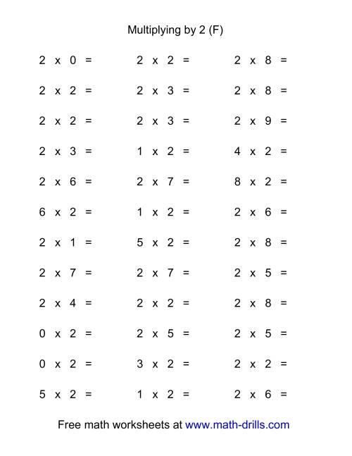 The 36 Horizontal Multiplication Facts Questions -- 2 by 0-9 (F) Math Worksheet