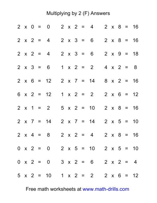 The 36 Horizontal Multiplication Facts Questions -- 2 by 0-9 (F) Math Worksheet Page 2