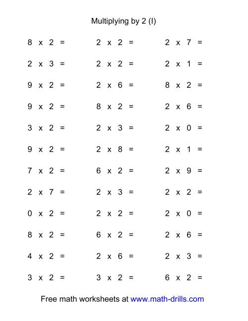 The 36 Horizontal Multiplication Facts Questions -- 2 by 0-9 (I) Multiplication Worksheet