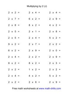 36 Horizontal Multiplication Facts Questions -- 2 by 0-9 (J)