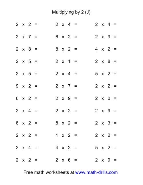 The 36 Horizontal Multiplication Facts Questions -- 2 by 0-9 (J) Multiplication Worksheet