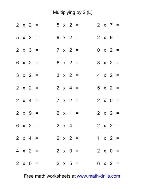 The 36 Horizontal Multiplication Facts Questions -- 2 by 0-9 (L) Math Worksheet