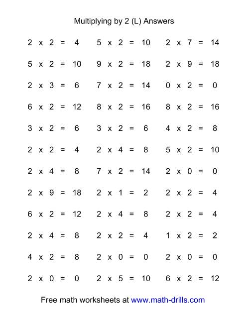 The 36 Horizontal Multiplication Facts Questions -- 2 by 0-9 (L) Math Worksheet Page 2