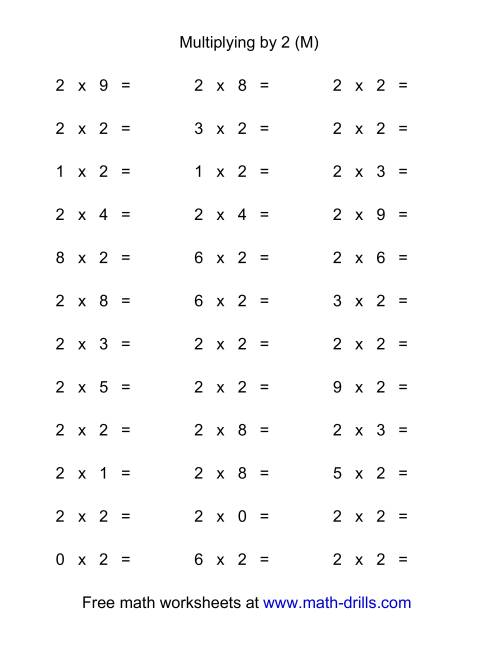 The 36 Horizontal Multiplication Facts Questions -- 2 by 0-9 (M) Math Worksheet