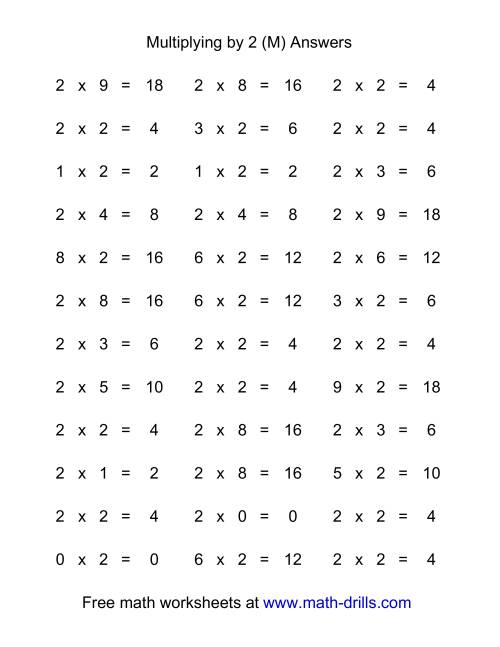 The 36 Horizontal Multiplication Facts Questions -- 2 by 0-9 (M) Math Worksheet Page 2