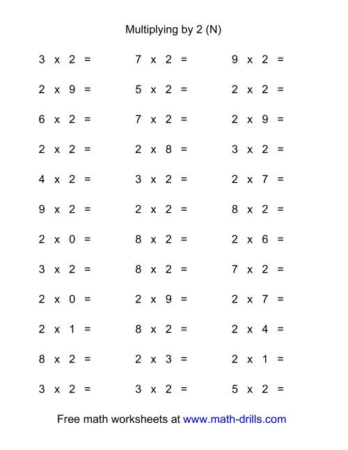 The 36 Horizontal Multiplication Facts Questions -- 2 by 0-9 (N) Math Worksheet