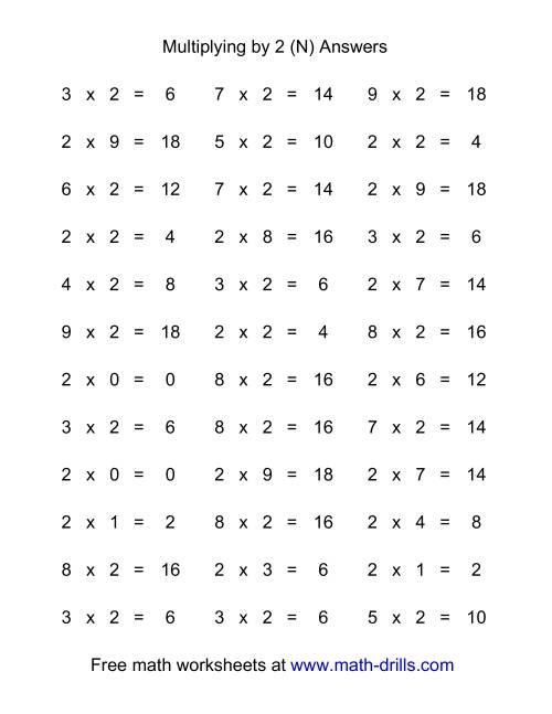 The 36 Horizontal Multiplication Facts Questions -- 2 by 0-9 (N) Math Worksheet Page 2