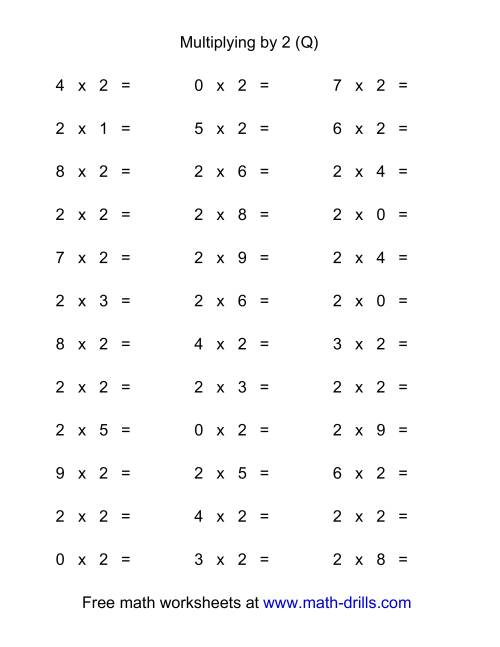 The 36 Horizontal Multiplication Facts Questions -- 2 by 0-9 (Q) Math Worksheet