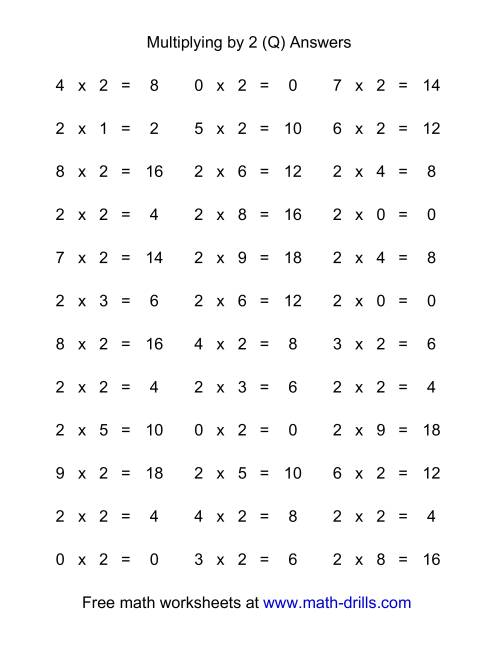 The 36 Horizontal Multiplication Facts Questions -- 2 by 0-9 (Q) Math Worksheet Page 2
