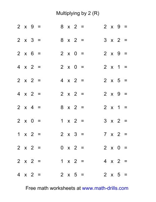 The 36 Horizontal Multiplication Facts Questions -- 2 by 0-9 (R) Math Worksheet