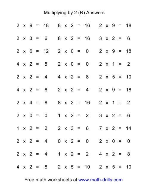The 36 Horizontal Multiplication Facts Questions -- 2 by 0-9 (R) Math Worksheet Page 2