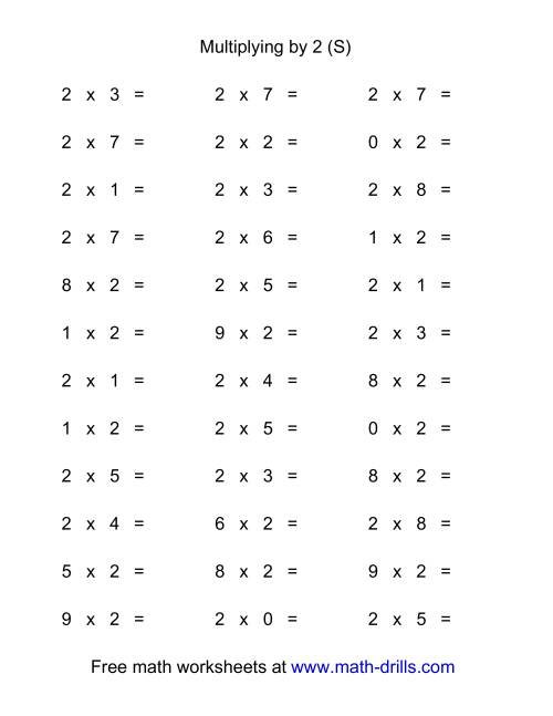 The 36 Horizontal Multiplication Facts Questions -- 2 by 0-9 (S) Math Worksheet