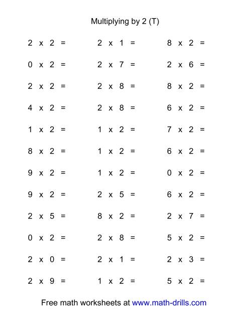 The 36 Horizontal Multiplication Facts Questions -- 2 by 0-9 (T) Math Worksheet