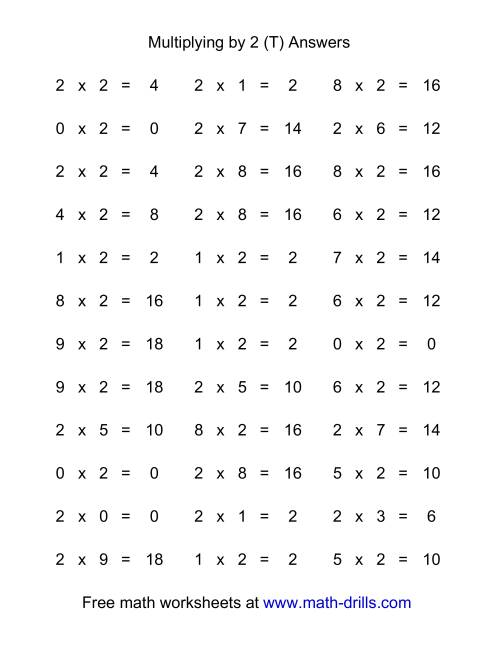 The 36 Horizontal Multiplication Facts Questions -- 2 by 0-9 (T) Math Worksheet Page 2