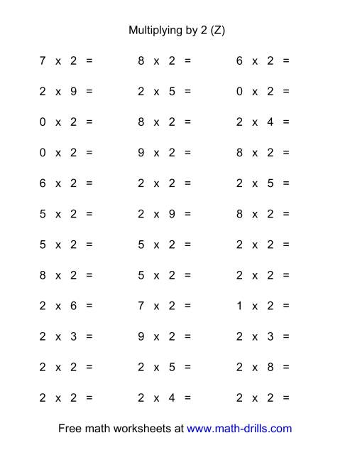 The 36 Horizontal Multiplication Facts Questions -- 2 by 0-9 (Z) Math Worksheet